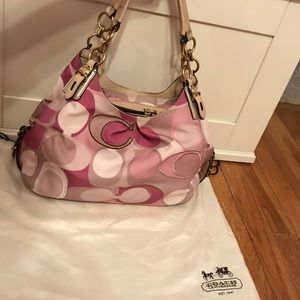 Authentic Pink & Tan Coach Signature Hobo